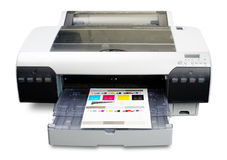 Inkjet printer. Working as proofer with printed color calibration target Stock Photo