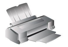 Inkjet printer. Illustration in grey isolated royalty free illustration