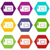 Inkjet printer cartridge icon set color hexahedron Royalty Free Stock Photography