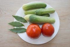 Inkludera den nya organiska grönsaker och gurkan på trägolv Göra grön gurkan Sommarram med nya organiska grönsaker på woode Royaltyfria Bilder