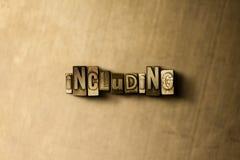 INKLUDERA - närbild av det typsatta ordet för grungy tappning på metallbakgrunden arkivbild