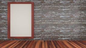 inkluderar den inre designen för rum 3d en vägg för planka för för plankagolvmahogny och trä med den wood ramen Royaltyfria Foton