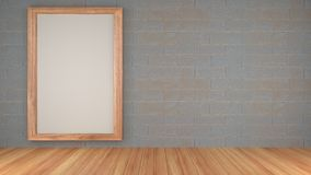inkluderar den inre designen för rum 3d ett plankagolv och betongvägg med den wood ramen Arkivfoton