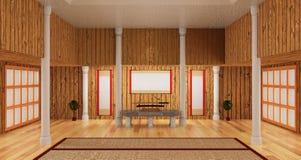 inkluderar inre rum 3d av samurajstil det japanska katanasvärdet Royaltyfri Fotografi