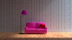 inkluderar inre rum för designen 3d en soffa och enformad kudde och lampa Arkivfoto