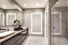 Inklusive duschområde för lyxig toalett och ett fönster Arkivfoton