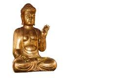 Inklusive isolerad snabb bana för Buddha guld- staty Arkivbilder