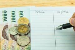 Inkomen & uitgave Royalty-vrije Stock Foto