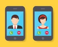 Inkomende vraag op het smartphonescherm royalty-vrije illustratie