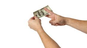 Inkomst eller utgifter för Cuttingkostnadsvinster Arkivbilder