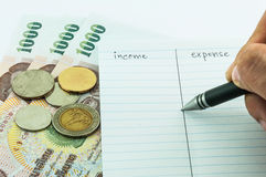 Inkomst & kostnad Arkivbild