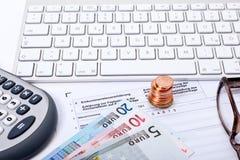 Inkomstenbelastingsverklaring Stock Foto