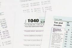 1040 inkomstenbelastingsvorm Royalty-vrije Stock Foto