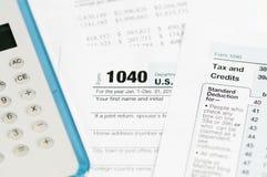 1040 inkomstenbelastingsvorm Royalty-vrije Stock Fotografie