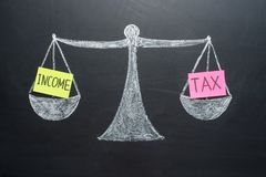 Inkomstskattjämviktsfinans bokar vågbegrepp royaltyfri bild