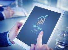 Inkomsttillgångar som packar ihop finansiellt pengarbegrepp för ekonomi Royaltyfria Bilder