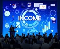 Inkomsttillgångar som packar ihop huvudfinanspengarbegrepp Arkivbilder