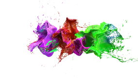Inks splashes in white background 3d illustration Stock Photography