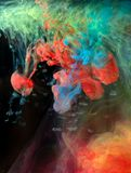 Inks in water, color abstraction, color explosion Stock Photo