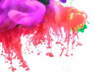Inks in water, color abstraction, color explosion Royalty Free Stock Images