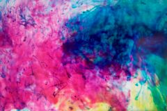 Inks in water, color abstraction, color explosion Stock Photography