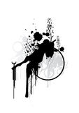 Inkstains and Shapes. Illustration of ink stains with elements including florals and circles Stock Image