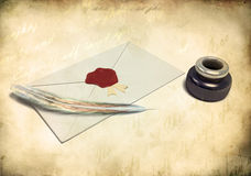 Inkstand with a quill near envelope. And empty sheet of paper royalty free illustration
