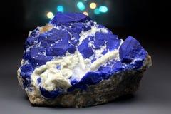 Inkt Blauwe Lazurite met Wit Forsterite Specimen stock foto's