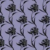 Inkt die het zwarte patroon van pioenbloemen trekken op purpere achtergrond vector illustratie
