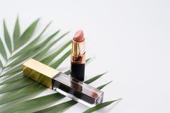 Inkt en naakte lipstic op witte achtergrond Hoogste mening stock fotografie
