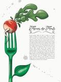 Inkt en Waterverfstijl Groene Vork met Radijs Stock Afbeeldingen