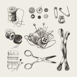 Inkt getrokken het naaien reeks Royalty-vrije Stock Afbeelding