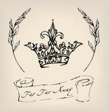 Inkt getrokken kroon met lint en takjes De illustratie zou als druk, teken of tatoegering kunnen worden gebruikt Stock Fotografie