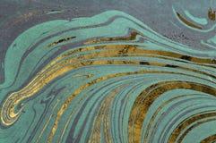 Inkt marmeren textuur Achtergrond van de Ebru de met de hand gemaakte golf Kraftpapier-document oppervlakte Unieke kunstillustrat Stock Foto