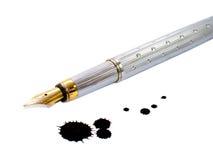 Inkt-pen en inktvlek Royalty-vrije Stock Foto's