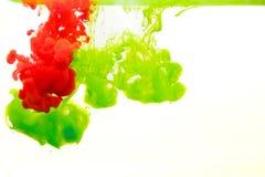Inkt in water, kleurenabstractie, kleurenexplosie Stock Afbeelding