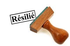 Inktende zegel die in geëindigde het Frans wijzen op royalty-vrije stock foto