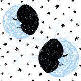 Inkthand getrokken maan en sterren naadloos patroon Stock Fotografie