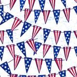 Inkthand getrokken naadloos patroon met Amerikaanse vlagslinger Stock Foto's