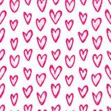 Inkthand getrokken naadloos patroon met hartenkrabbel Stock Afbeelding