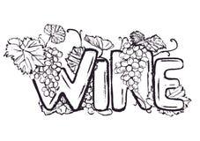 Inkthand het getrokken wijn van letters voorzien stock illustratie