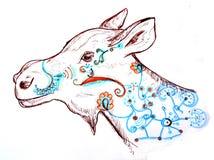 Inktpen getrokken fantazy Amerikaanse elanden Royalty-vrije Stock Afbeelding