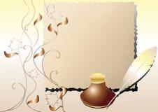 Inktpot, pen, een oud document. Royalty-vrije Stock Afbeelding