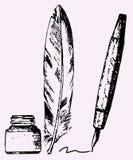 Inktpot, veer, pen Royalty-vrije Stock Afbeeldingen