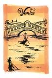 Inkttekening van de Brug van Rialto, Venezia, vector de schetsillustratie Venetië van Italië Royalty-vrije Stock Foto