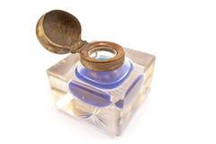 Inkwell a cristallo antico isolato Immagini Stock Libere da Diritti