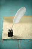 Inkwell and Feather Royalty Free Stock Photo