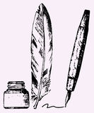 Inkwell, feather, pen Royalty Free Stock Images
