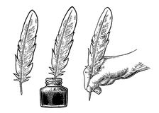 Inkwell and female hand holding a goose feather. Vector engraving Stock Photo
