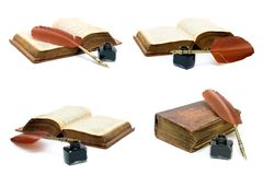 Inkwell, pen and an old book on white background. Horizontal photo Stock Photography